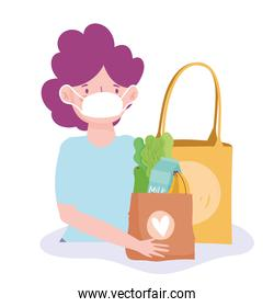 woman with medical mask and paper bags grocery store