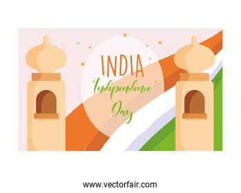 happy independence day india, temple culture flag celebration