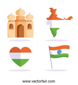 happy independence day india, taj mahal map flag in heart icons