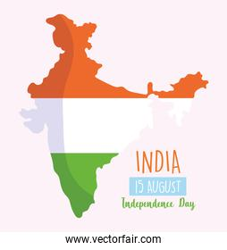 happy independence day india, country map with flag patriotism
