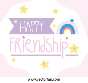 happy friendship day, special event celebration lettering decoration