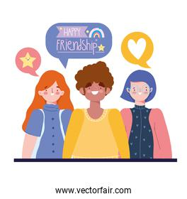 happy friendship day, group people character talking, special event celebration
