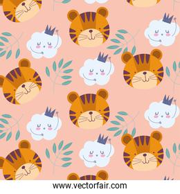 cartoon cute animals characters tiger faces clouds leaves background