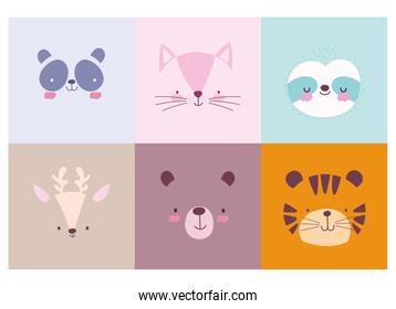 cartoon cute animals characters faces collection design