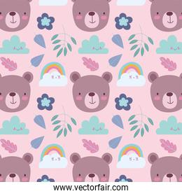 cartoon cute animals characters bear faces rainbow clouds leaves and flowers background
