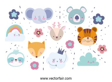faces elephant fox tiger deer koala flowers rainbow clouds cartoon cute animals characters background