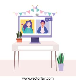 online party, birthday or meeting friends, man and woman video computer on table celebration