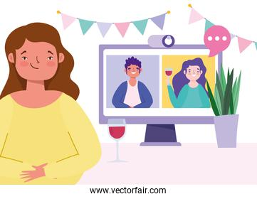 online party, meeting friends, people drink wine together in quarantine connected webcam