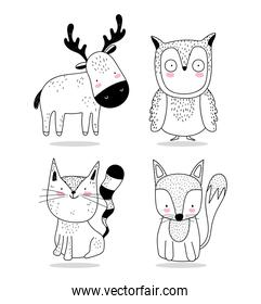 cute animals sketch wildlife cartoon adorable deer owl fox and squirrel