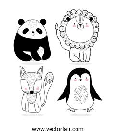 cute animals sketch wildlife cartoon adorable panda lion fox and penguin