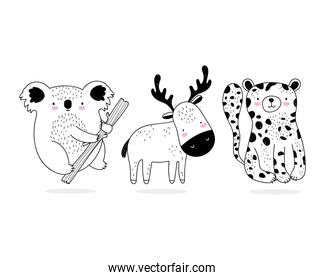 cute animals sketch wildlife cartoon adorable leopard