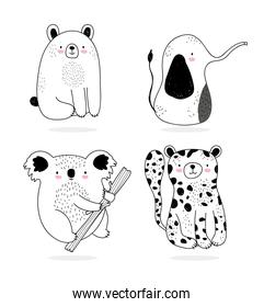 cute animals sketch wildlife cartoon adorable leopard bear koala and elephant