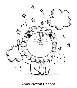 little lion clouds stars cute animals sketch wildlife cartoon adorable