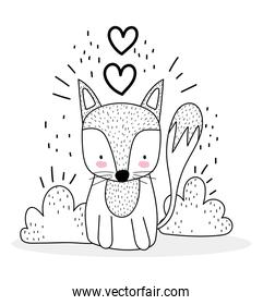 little fox sitting with love hearts cute animals sketch wildlife cartoon adorable
