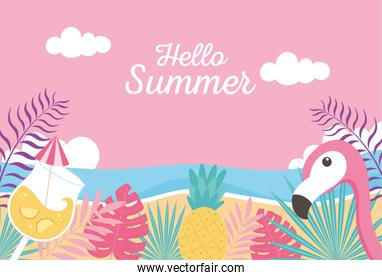 flamingo pineapple cocktail beach sea exotic tropical leaves, hello summer lettering
