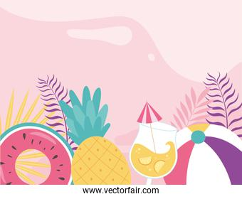hello summer, tropical leaves foliage float pineapple cocktail ball