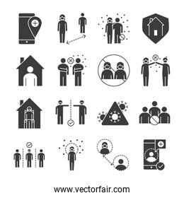 covid 19 coronavirus social distancing prevention, outbreak spreading vector silhouette style icons set