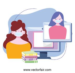 online training, people wearing mask virtual class with books, courses knowledge development using internet