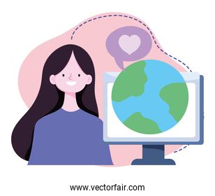 online training, girl with computer world lesson virtual, courses knowledge development using internet