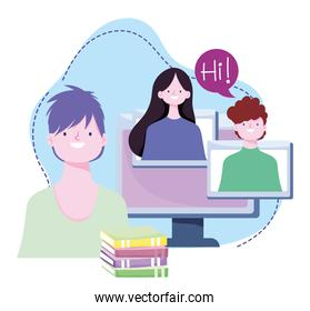 online training, students computer and books homework, courses knowledge development using internet