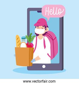 safe delivery at home during coronavirus covid-19, courier man with mask and grocery bag order smartphone