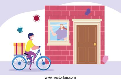 safe delivery at home during coronavirus covid-19, courier man riding bike and customer waiting deliver in house