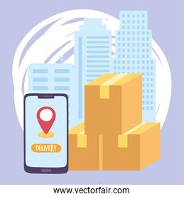 safe delivery at home during coronavirus covid-19, smartphone cardboard boxes city service