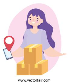 safe delivery at home during coronavirus covid-19, woman with smartphone and packages