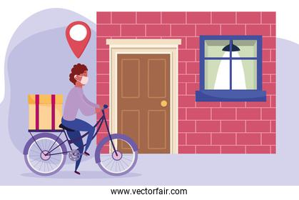 safe delivery at home during coronavirus covid-19, courier man riding bicycle with box in home