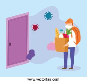 safe delivery at home during coronavirus covid-19, boy carrying grocery bag in door house