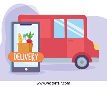 safe delivery at home during coronavirus covid-19, smartphone order food and truck transport