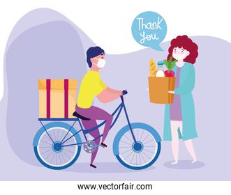 safe delivery at home during coronavirus covid-19, courier man with mask riding bike and customer with grocery bag with food