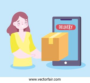 safe delivery at home during coronavirus covid-19, customer receiving order smartphone service app