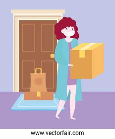 safe delivery at home during coronavirus covid-19, woman carrying box and order in door