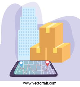 safe delivery at home during coronavirus covid-19, smartphone gps navigation cardboard boxes city