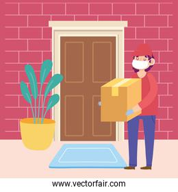 safe delivery at home during coronavirus covid-19, courier man carrying cardboard box in door home