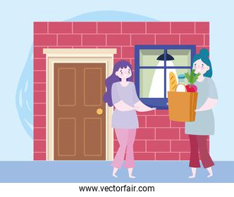 safe delivery at home during coronavirus covid-19, women with grocery bag in door home