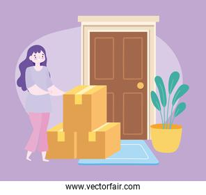 safe delivery at home during coronavirus covid-19, female customer with cardboard boxes in door