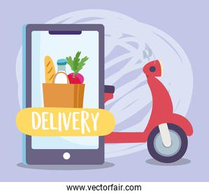 safe delivery at home during coronavirus covid-19, scooter smartphone grocery bag food ordering
