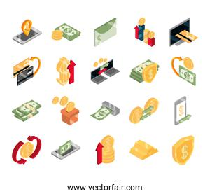 isometric money cash currency business coins banknotes isolated on white background flat icons set