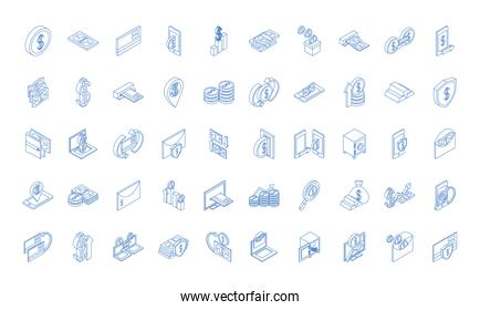 isometric money cash currency business coins banknotes isolated on white background linear blue icons set