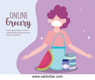 online market, woman with medical mask bag with food, delivery in grocery store