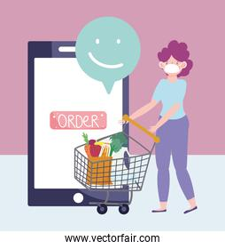 online market, woman with shopping cart ordering, smartphone food delivery in grocery store