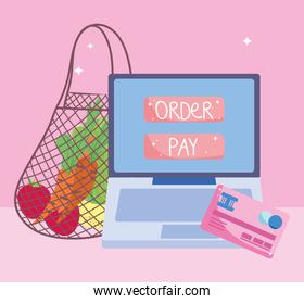 online market, eco friendly bag with fruits and vegetables computer bank card, food delivery in grocery store