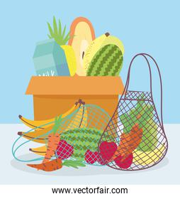 online market, cardboard box eco friendly bag with fresh fruits vegetables, food delivery in grocery store