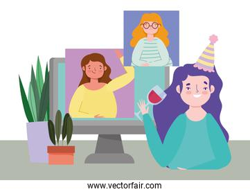 online party, birthday or meeting friends, young women celebrating with glass wine and computer