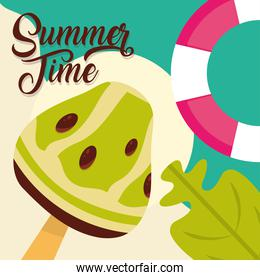 hello summer travel and vacation season, lifebuoy ice cream leaf, lettering text