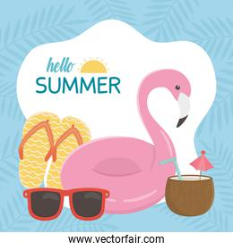 summer travel and vacation float flamingo sandals sunglasses and cocktail