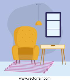 yellow chair table ceiling lamp window and carpet decoration