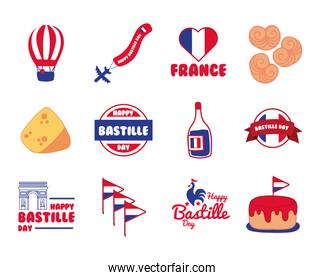 bundle of bastille day icons